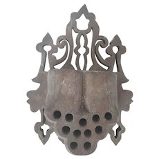 Antique Folk Art Walnut Fretwork Match Holder