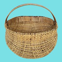 Unique Antique Primitive Folk Art Intricately Woven Buttocks Basket