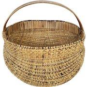 Unique Antique Primitive Folk Art Intricately Woven Buttocks Basket
