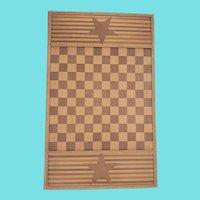 Vintage Folk Art Inlaid Draughts Checkers Gameboard w/ Stars & Stripes Design
