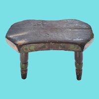 Diminutive 19th C. PA. Primitive Folk Art Cricket Footstool in Original Paint
