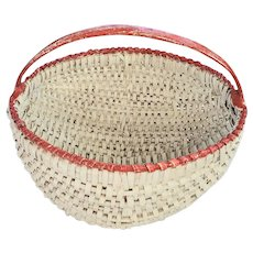 Antique Primitive Buttocks Basket in Old Red & White Paint from Noted Collection