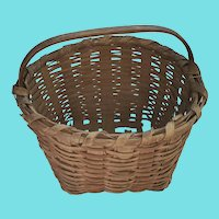 Vintage Primitive Gathering Basket w/Red Striped Design