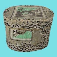 Antique Mid 19th C. Folk Art Wallpaper Band Box