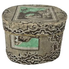 Antique Mid 19th C. Folk Art Wallpaper Band Box
