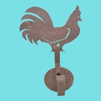 Vintage Primitive Folk Art Cut Iron Rooster Form Wall Sconce
