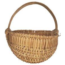 Rare Vintage Handmade Primitive Miniature Basket #1 - Half Basket