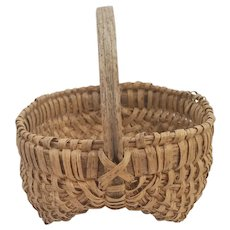 Vintage Primitive Small Size Buttocks Basket w/Gods Eyes