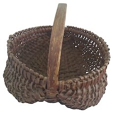 Antique Early 1900's Primitive Handmade Buttocks Basket in Original Brownish Red Paint