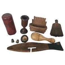 Group of 9 Antique Primitives inc. Treenware, Basket, Scrimshaw ++