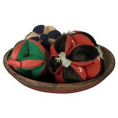 Antique Dough Bowl in Original Red Paint w/4 Amish Puzzle Ball Pin Cushions
