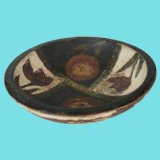 Small Vintage Primitive Painted Bowl w/Floral Design