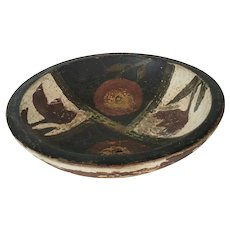 Small Vintage Primitive Painted Bowl w/Floral Design