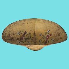 Large Vintage Primitive Folk Art Footed Tin Bowl w/ Fanciful Birds & Flowers Design
