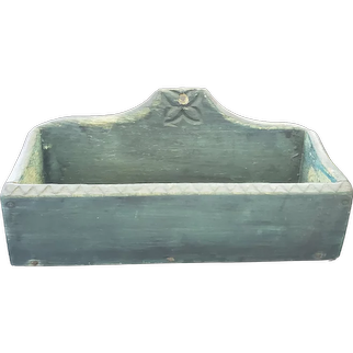 Antique Primitive PA. Folk Art Dark Teal Blue Painted Candle Box w/Carved Flower