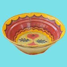 Vintage PA. Folk Art Tole Painted Metal Milk Pan w/Hearts & Tulips