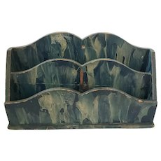Antique Late 19th Early 20th C. Blue Faux Painted Letter Holder Box