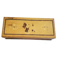Cute Vintage 1940's Faux Inlaid Box w/Scotty Dogs Design