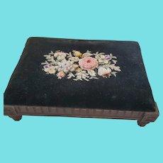 Antique Victorian Floral Design Crewel Embroidery on Velvet Footstool
