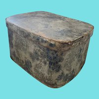 """Large 13"""" x 10"""" x 7"""" 19th C. Blue & Gray Wallpaper over Wood Band Box"""