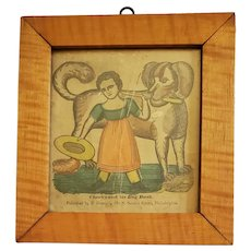 """Antique Early 19th C. Hand Colored Block Print """"Charles and his Dog Dash"""""""