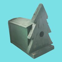 Vintage Primitive Folk Art Birdhouse w/Pine Tree Design