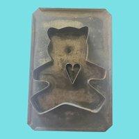 Vintage Primitive Folk Art Tin Cookie Cutter #28 (Teddy Bear w/Heart)