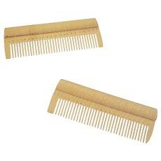 Pair of Tiny Antique Folk Art Tiger Maple Shaker Combs