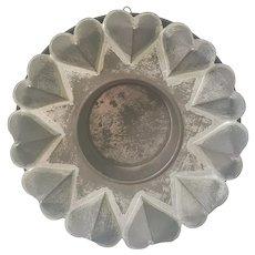 Antique Folk Art Tin Heart Motif Food Mold