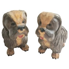 Cute Pair Vintage Folk Art Black Forest Painted Dog Carvings