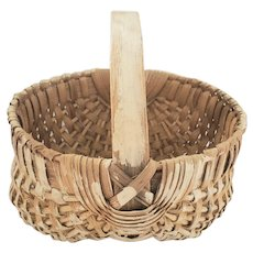 """Small 6 1/2"""" Diameter Buttocks Basket w/Remnants of Oyster White Paint"""