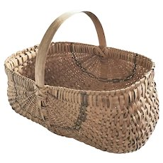 "Large 16 1/2"" Vintage Primitive 2-Color Buttocks Basket from my Collection"
