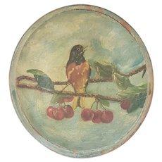 Vintage PA. Folk Art Painted Dough Bowl w/Robin on Cherry Tree Branch