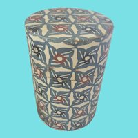 Vintage Wallpaper Covered Tin Tea/Coffee Caddy Canister
