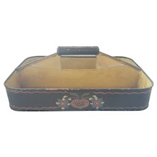 Vintage Folk Art Painted Tin Knife Box Cutlery Tray