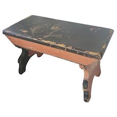 Antique Primitive PA. Footstool in Black & Salmon Paint