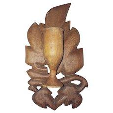Vintage Primitive Folk Art Goblet & Leaf Design Wall Hung Match Holder