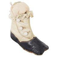 Early 1900's Folk Art Black & White Baby Shoe Pin Cushion