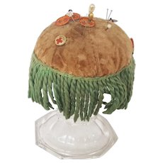 Authentic Vintage Primitive Folk Art Make-Do Pin Cushion w/Fringe Decoration