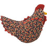 Vintage Folk Art Calico Chicken Pin Cushion