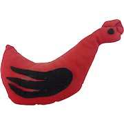Vintage Folk Art Bean Stuffed Stylized Rooster Pin Cushion From My Collection