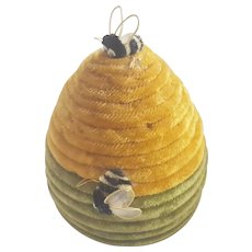 Whimsical Vintage Folk Art Beehive Pin Cushion