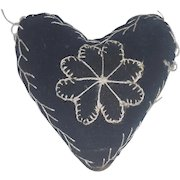 Antique Victorian Folk Art Black Velvet Heart Pin Cushion