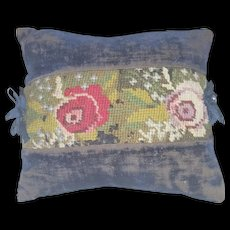 Antique Amish or Mennonite Velvet Pin Cushion With Floral Berlin Work