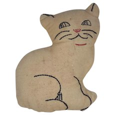 Vintage 1940's Folk Art Cat Pin Cushion