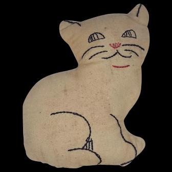 Vintage 1940's Folk Art Cat Pin Cushion