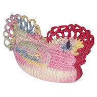 Vintage Folk Art Hand Crocheted Chicken Hen Pin Cushion