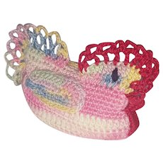Vintage Folk Art Hand Crocheted Chicken Hen Pin Cushion