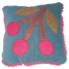 Vintage PA. Mennonite Folk Art Pin Cushion with Cherry Cluster Design
