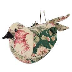 Vintage Folk Art Bird Pin Cushion